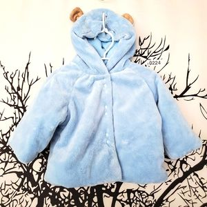 Puffy Bear Coat Light Blue Hooded Baby 6-9 Months